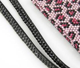 iPhone lanyard - black rhinestone bling